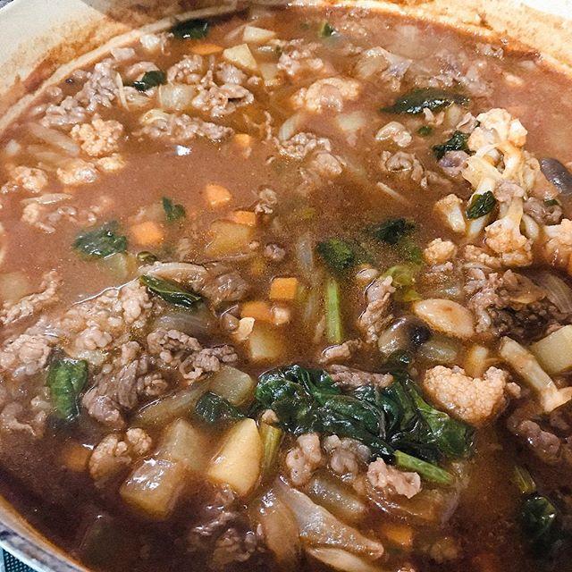 具だくさんのブラウンスープ?ポトフ? 牛スネ肉の切り落としが安かったからたっぷりいれちゃった〜。